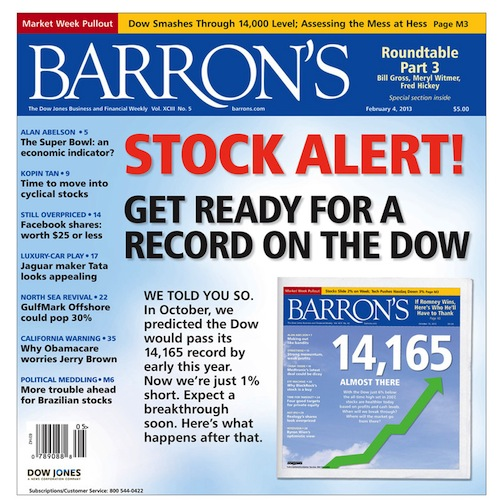barrons record dow