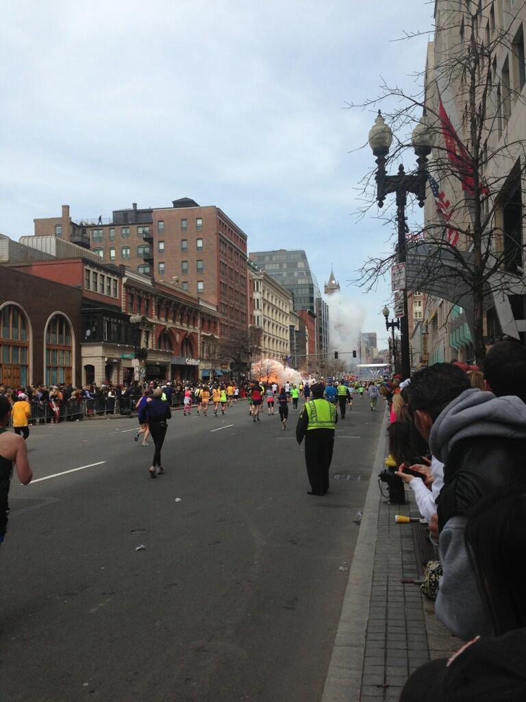 boston marathon explosion detonates