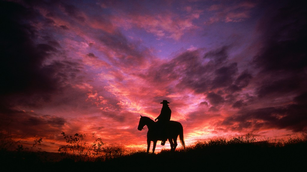 Cowboy Silhouetted at Sunset