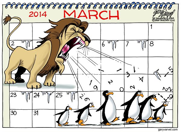 Cartoonist Gary Varvel: March: In like a lion, out like...