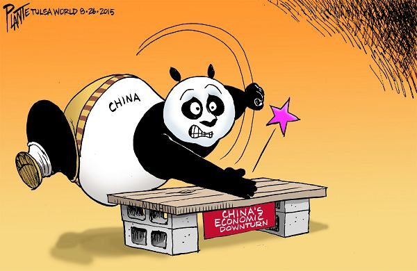 Bruce Plante Cartoon: Kung Fu China, China's economic downturn, Wall St., World Financial Market, Dow Jones, S & P, Standard and Poor, NASDAQ, Plante 20150827