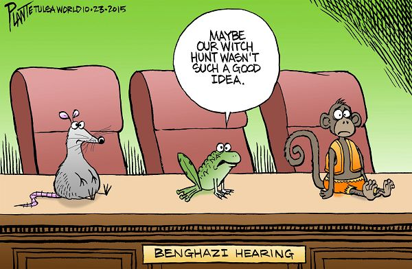 Bruce Plante Cartoon: Benghazi, Benghazi Hearings, Secretary of State Hillary Rodham Clinton, Committee Chairman Trey Gowdy, Select Committee on Benghazi, Democratic Party, Republican Party, GOP, RNC, DNC, Plante 20151025
